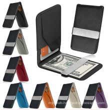 Mens Genuine Leather Slim Wallet ID Credit Money Clip Card Holder